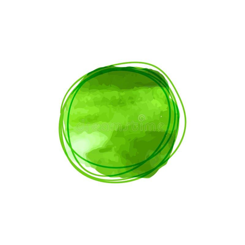 Punto de la acuarela del vector y círculo verdes del garabato alrededor, plantilla del marco de Eco ilustración del vector