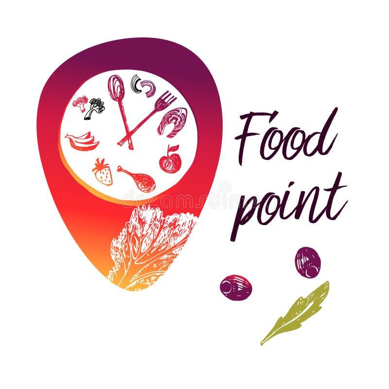 Punto de la comida del concepto cerca de mí Logotipo de la plantilla, muestra, insignia para el café, stock de ilustración