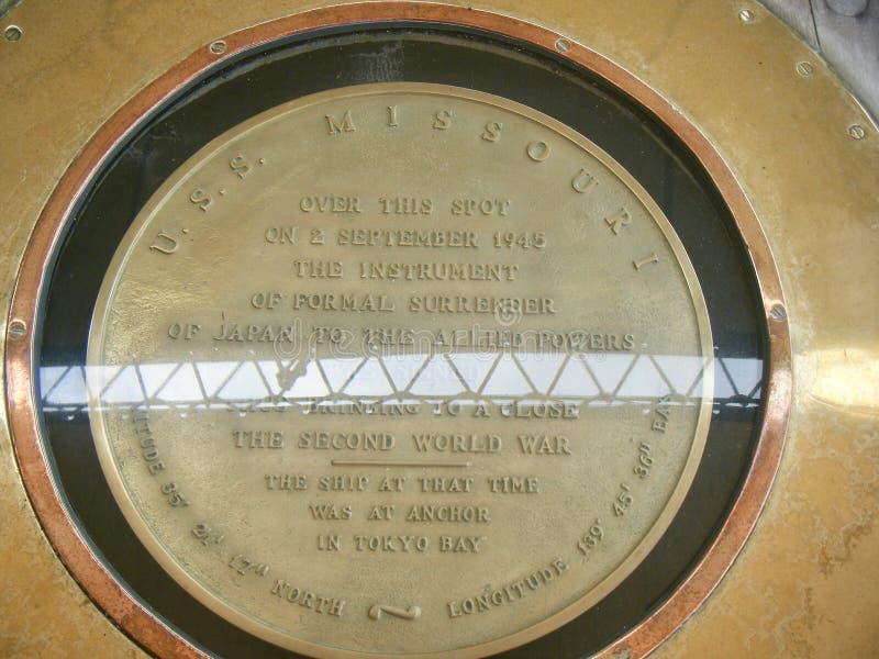 Punto de la entrega de USS Missouri Japón, Pearl Harbor Hawaii foto de archivo libre de regalías