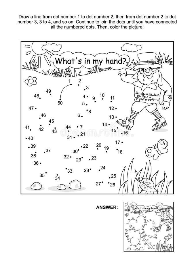Punto-a-punto de la hoja y del duende del trébol y página del colorante libre illustration