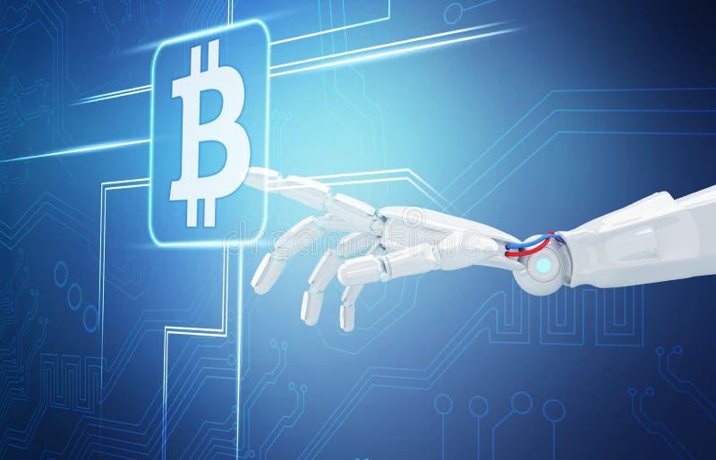 Punto de la mano del robot en icono digital del cryptocurrency representación 3d ilustración del vector