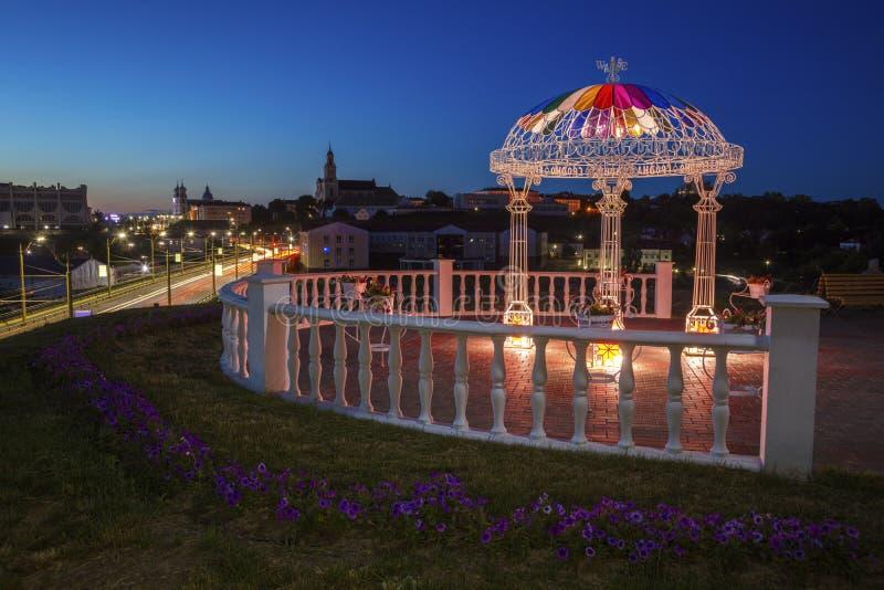 Punto de vista en Grodno en la noche imágenes de archivo libres de regalías