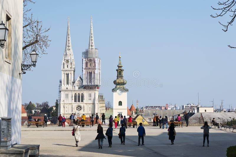 Punto de vista en la ciudad superior de Zagreb Croatia foto de archivo libre de regalías