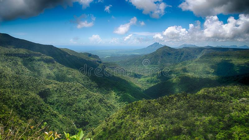 Punto de vista de las gargantas en Mauricio imagenes de archivo