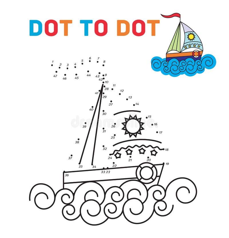 Punto del libro da colorare da punteggiare La barca Per insegnare illustrazione vettoriale