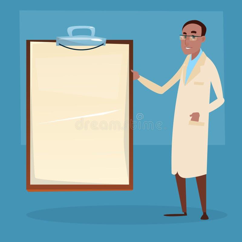 Punto del médico de médico African American Man para vaciar al tablero ilustración del vector