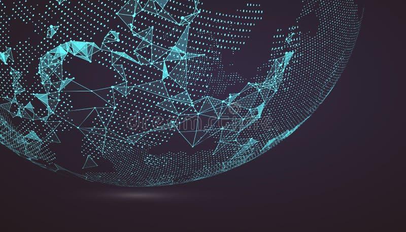 Punto del mapa del mundo, línea, composición, representando el global, Glo stock de ilustración