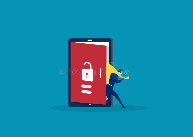 Punto del pirata informatico dallo schermo dopo la sua crepa di attività criminale, Spam dello Smart Phone, rubante soldi, parola illustrazione vettoriale