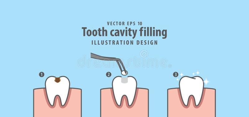 Punto del vettore di riempimento dell'illustrazione della cavità del dente sul backgro blu illustrazione vettoriale