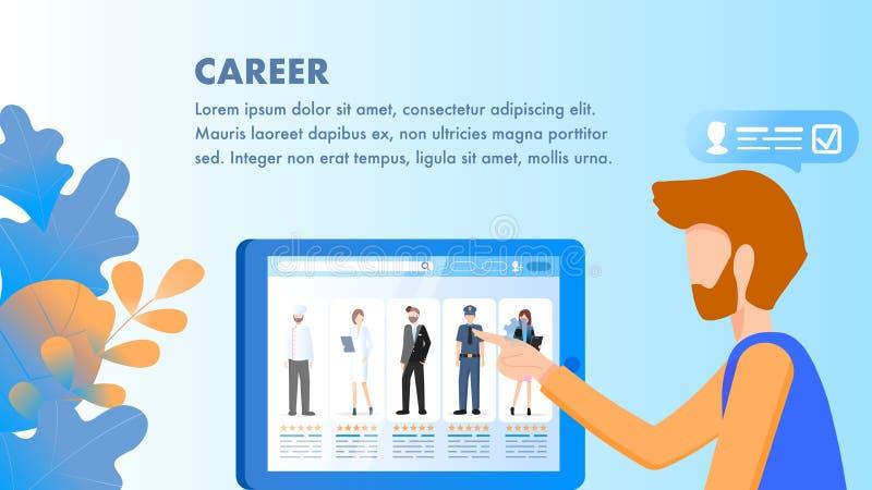 Punto dell'uomo al carattere di occupazione sullo schermo della compressa illustrazione vettoriale