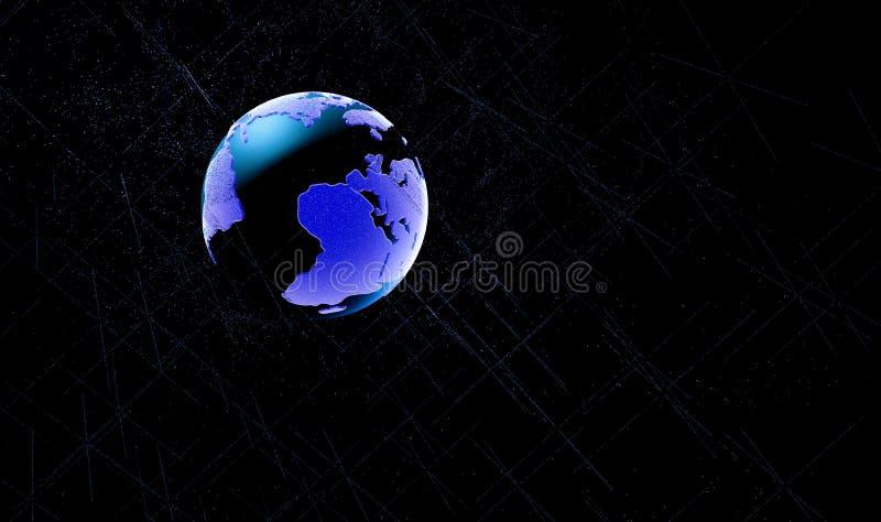 Punto della mappa di mondo, linea, composizione, rappresentante il globale, collegamento di rete globale, significato internazion illustrazione di stock
