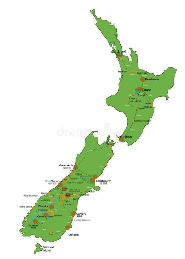 Punto della Nuova Zelanda di interesse illustrazione di stock