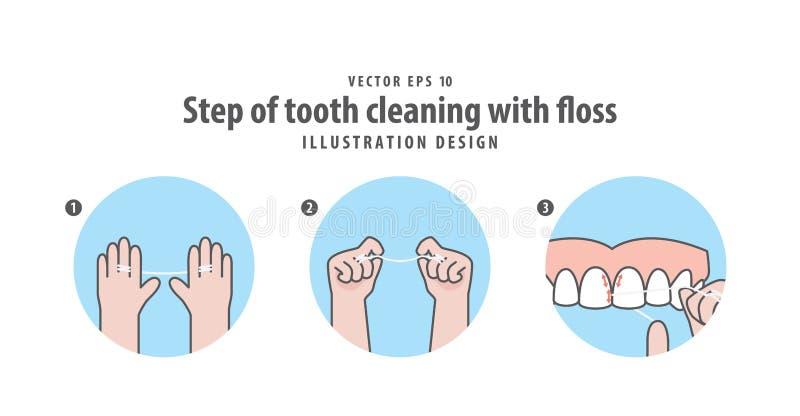 Punto di pulizia del dente con il vettore dell'illustrazione del filo di seta sulle sedere blu illustrazione di stock