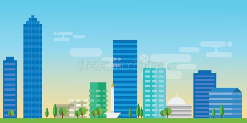 Punto di riferimento capitale di architettura del paesaggio dell'illustrazione di vettore dell'orizzonte della città di Jakarta I royalty illustrazione gratis