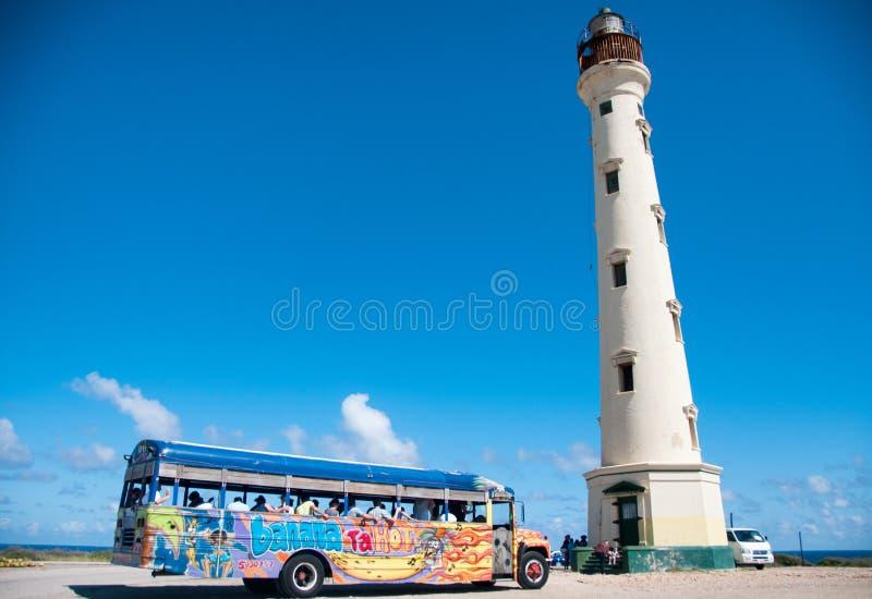 Punto di riferimento del faro di California su Aruba i Caraibi immagine stock