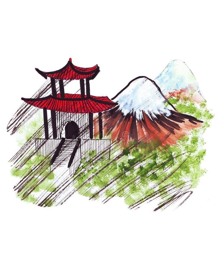 Punto di riferimento dell'illustrazione che schizza vulcano attivo il monte Fuji sul giapponese illustrazione vettoriale