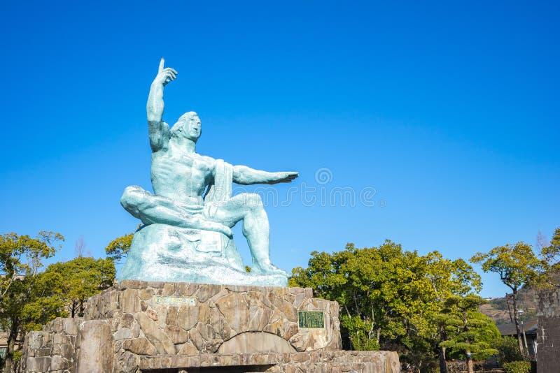 Punto di riferimento della statua di pace del parco di pace di Nagasaki a Nagasaki, Giappone immagine stock