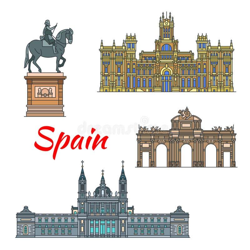 Punto di riferimento di viaggio dello Spagnolo dell'insieme lineare dell'icona di Madrid illustrazione vettoriale