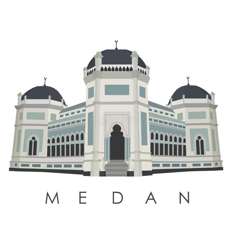 Punto di riferimento famoso della città di Medan dell'Indonesia royalty illustrazione gratis