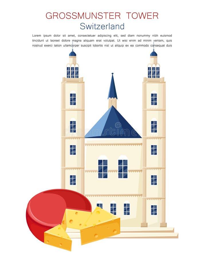 Punto di riferimento famoso della torre di Grossmunster nell'architettura di vettore della Svizzera Simbolo del formaggio delle c illustrazione vettoriale