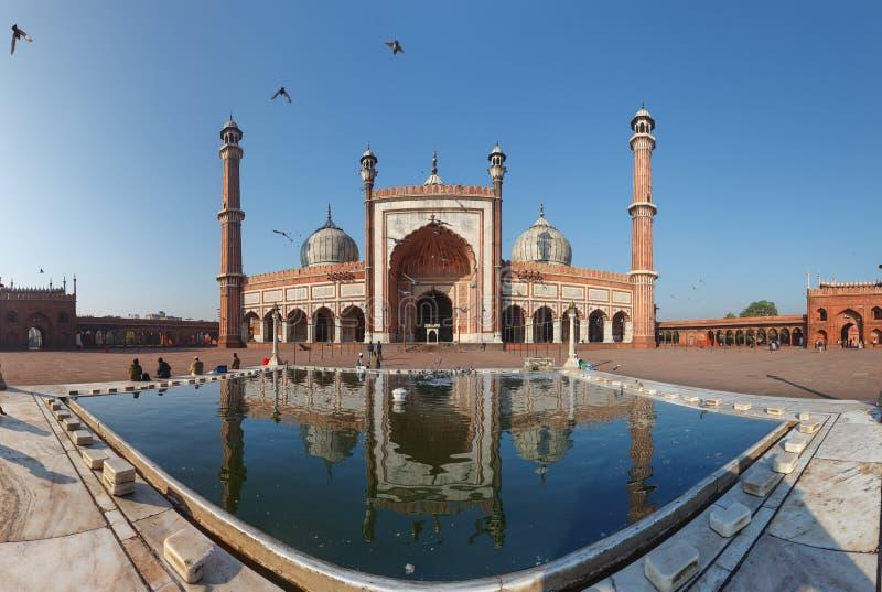 Punto di riferimento indiano - moschea di Jama Masjid a Delhi. Panorama immagini stock