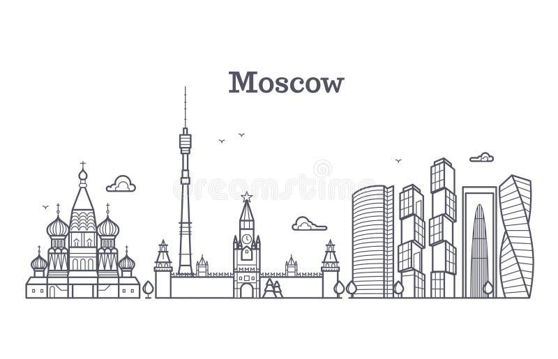 Punto di riferimento lineare di Mosca Russia, orizzonte moderno della città, panorama di vettore con le costruzioni sovietiche illustrazione di stock