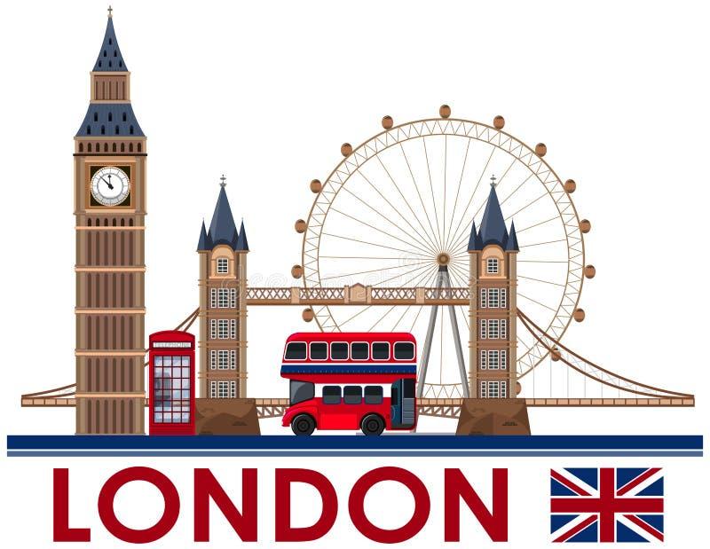 Punto di riferimento di Londra su fondo bianco illustrazione di stock