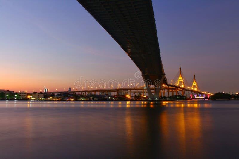 Punto di riferimento, paesaggio, Ove Bhumibol Bridge On le banche di Chao Phraya River a penombra in Tailandia fotografie stock libere da diritti