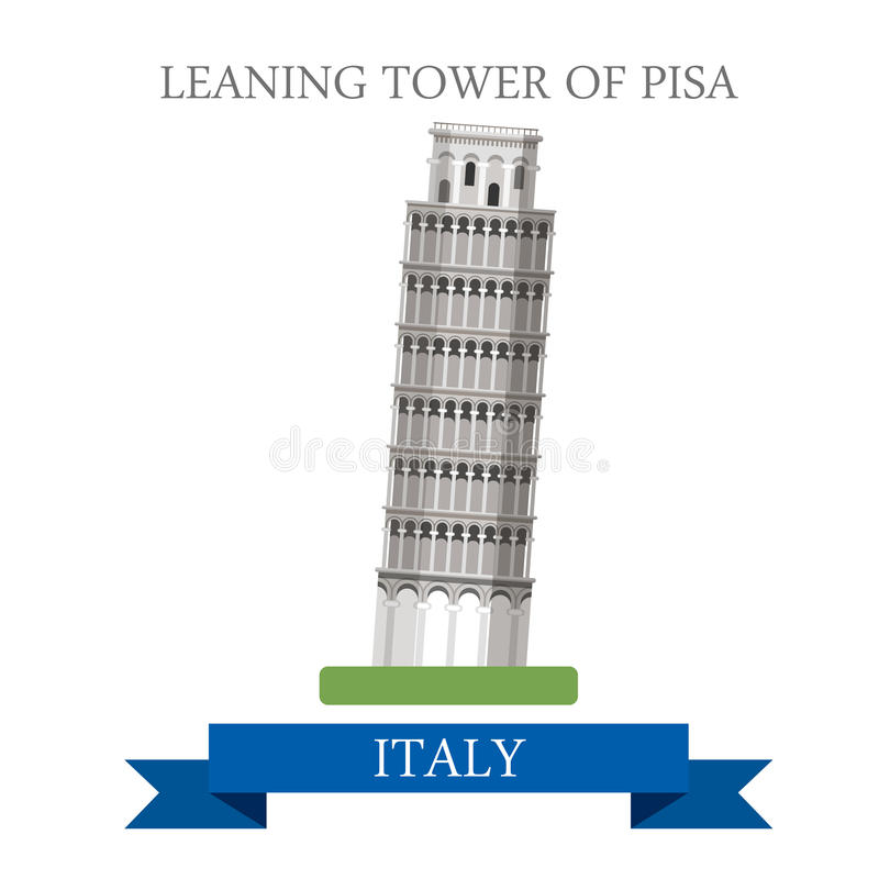 Punto di riferimento piano dell'attrazione di vettore di Pisa Roma Italia della torre pendente royalty illustrazione gratis