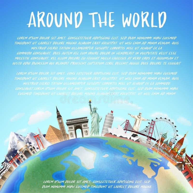 Punto di riferimento reale di viaggio intorno al vettore del mondo royalty illustrazione gratis
