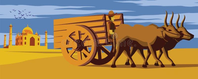 Punto di riferimento di Taj Mahal del passaggio di movimento del carretto della mucca dell'India, stile di vita di colore indiano royalty illustrazione gratis