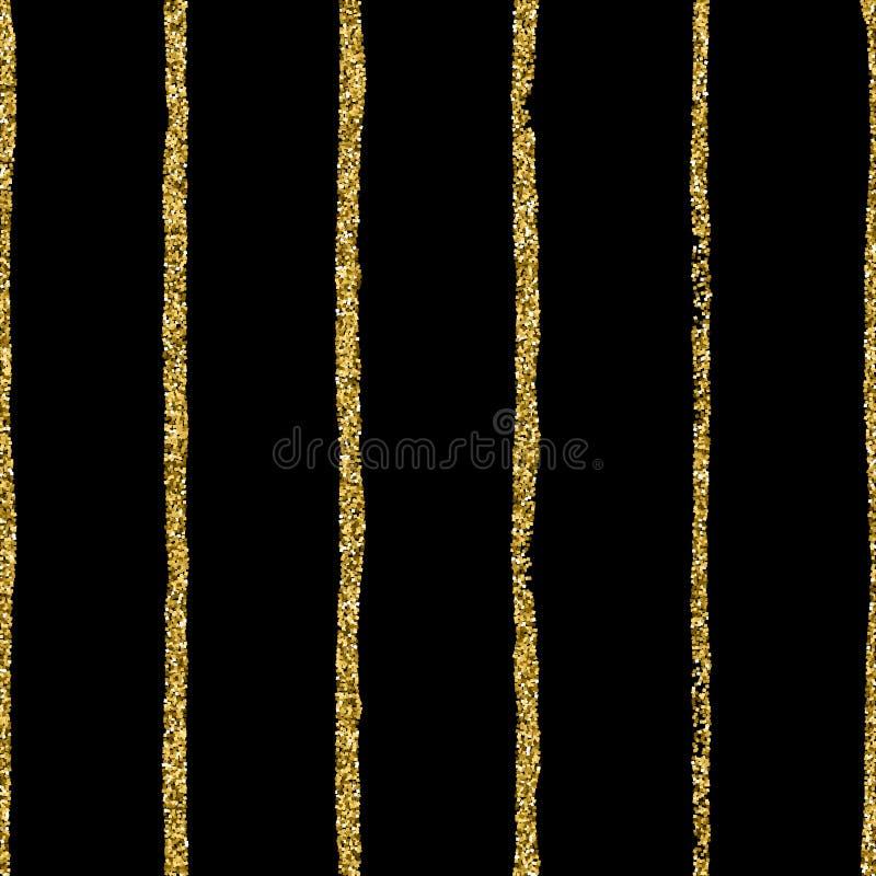 Punto di scintillio dell'oro su fondo a strisce nero Strisce di tiraggio della mano e modello senza cuciture di vettore dei pois illustrazione di stock