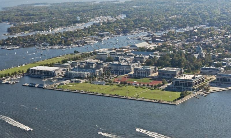 Punto di vista aereo dell'Accademia Navale degli Stati Uniti fotografie stock libere da diritti