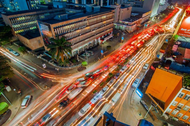 Punto di vista aereo di notte di Kampala Road, Kampala, Uganda fotografia stock libera da diritti