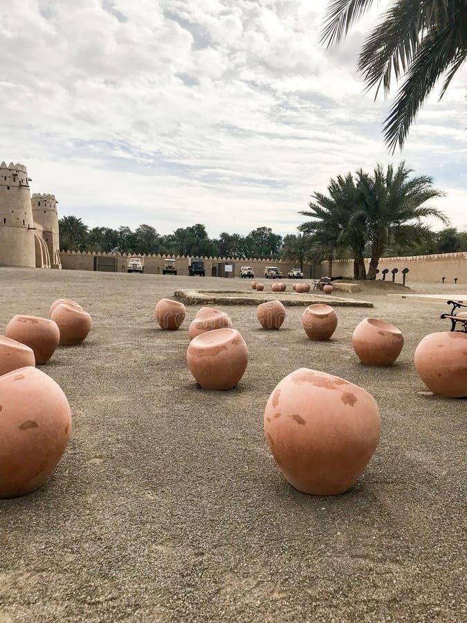 Punto di vista di Al Jahili Fort in Al Ain, UAE fotografie stock libere da diritti