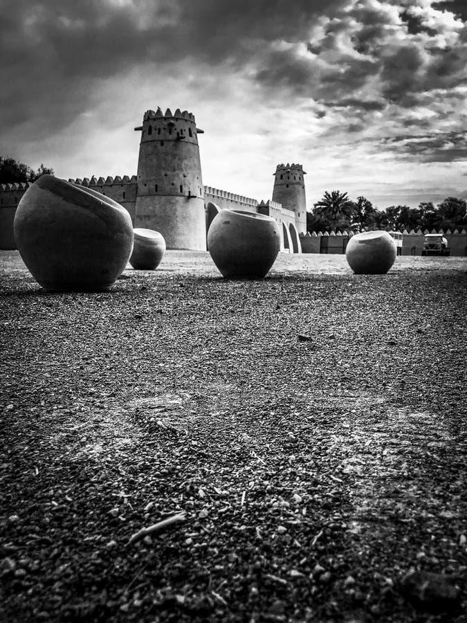 Punto di vista di Al Jahili Fort in Al Ain, UAE fotografia stock