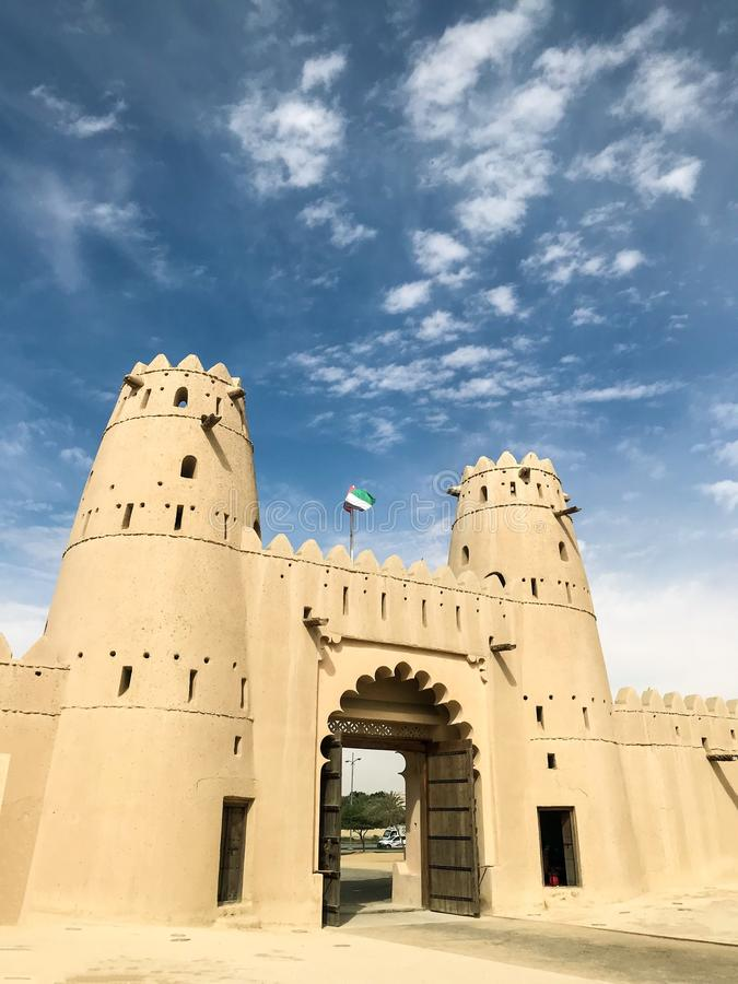 Punto di vista di Al Jahili Fort in Al Ain, UAE immagini stock