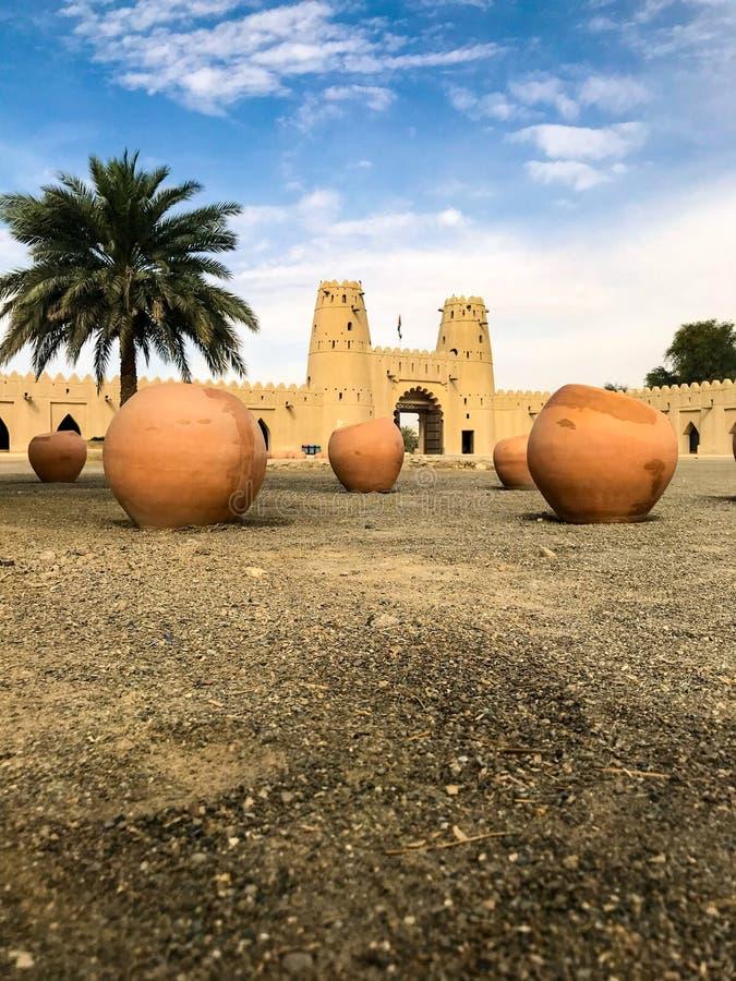 Punto di vista di Al Jahili Fort in Al Ain, UAE immagine stock