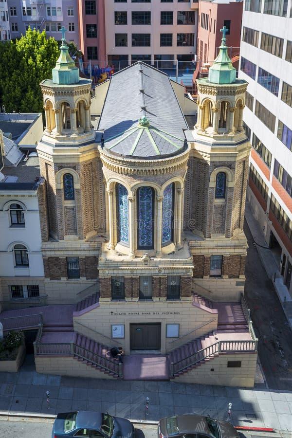 Punto di vista areale di Notre Dame Des Victoires Church, San Francisco, California, Stati Uniti d'America, U.S.A. fotografie stock