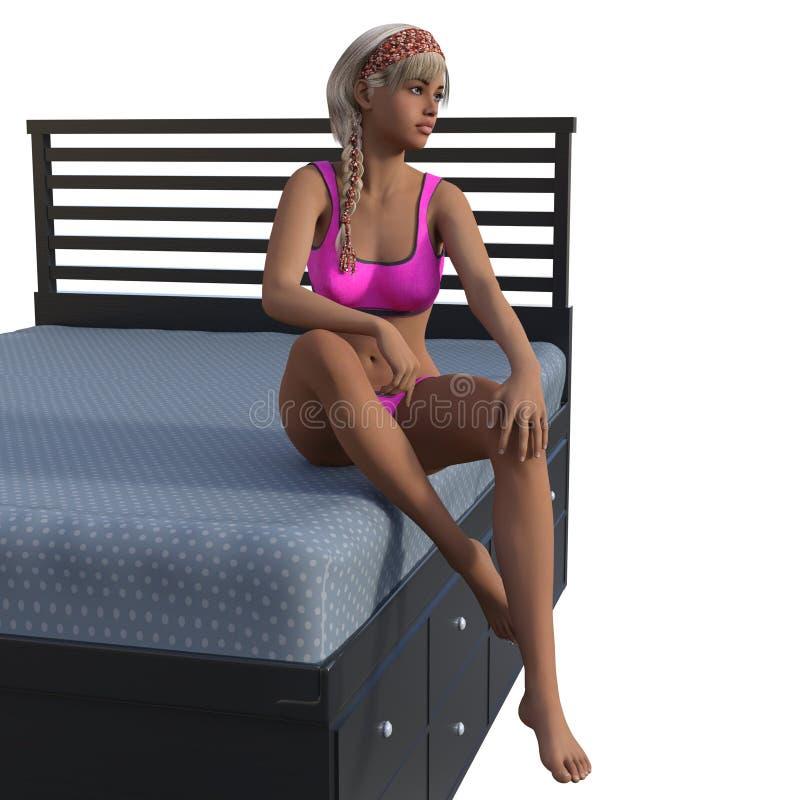 Punto di vista di bella ragazza abbronzata che si siede su un letto in un bikini rosa illustrazione vettoriale