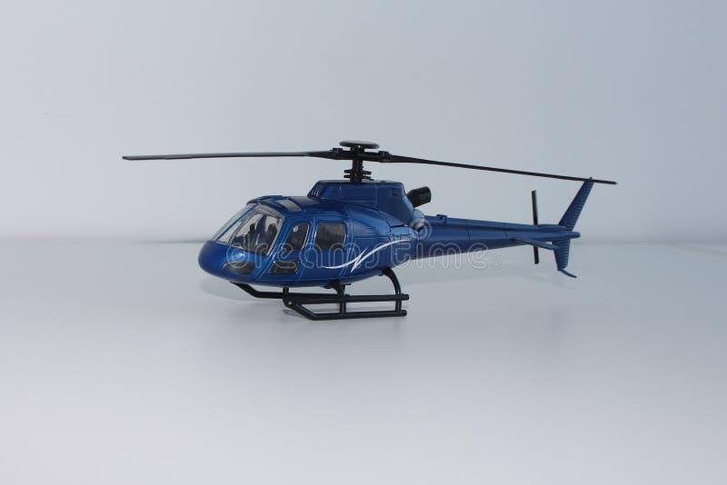 Punto di vista blu di Toy Helicopter Front Left Side immagine stock