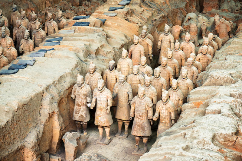Punto di vista dei soldati di terracotta dell'esercito di terracotta, Xi `, Cina immagini stock