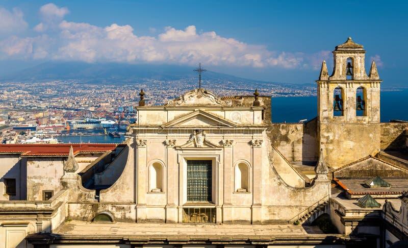 Punto di vista del Certosa di San Martino a Napoli fotografia stock libera da diritti