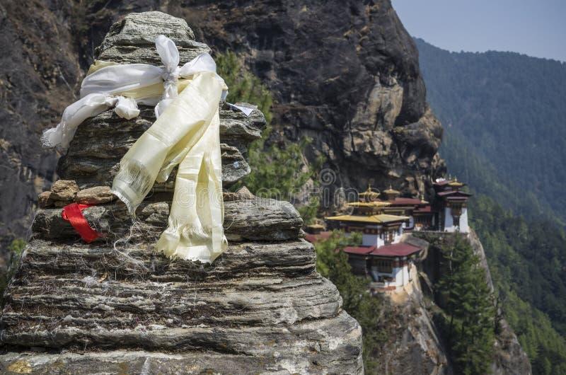 Punto di vista del monastero di Taktshang, Bhutan fotografia stock