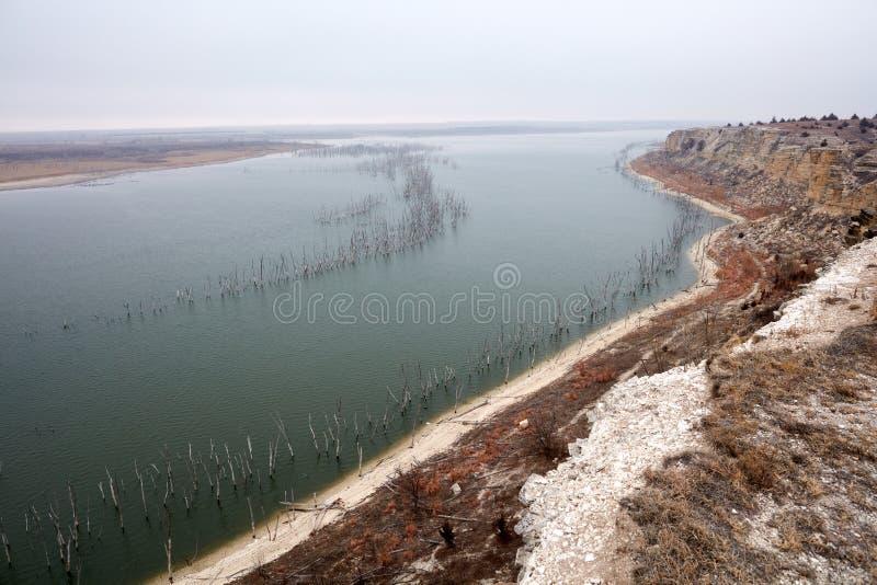 Punto di vista del paesaggio di Cedar Bluff Reservoir fotografia stock