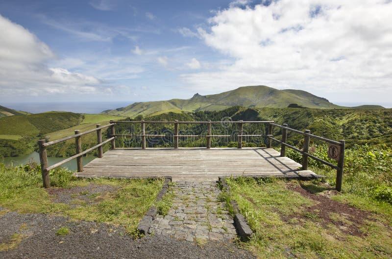 Punto di vista del paesaggio nell'isola del Flores Lago Caldeira Funda Portu immagini stock libere da diritti