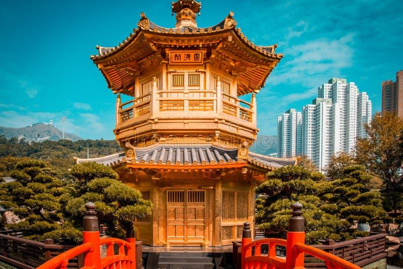 Punto di vista dell'alzavola e dell'arancia del padiglione di perfezione assoluta, Lian Garrden Hong Kong fotografie stock libere da diritti