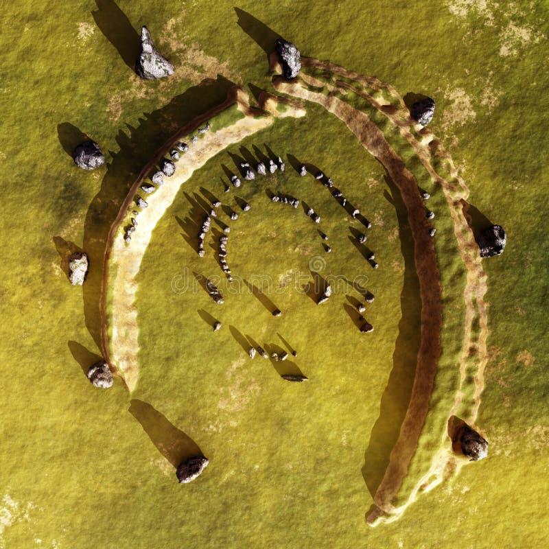 Punto di vista dell'antenna dello Stonehenge dell'Irlanda illustrazione di stock