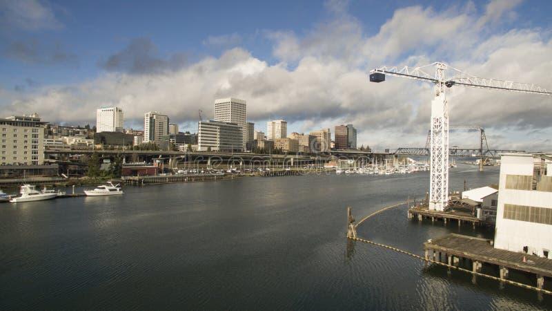 Punto di vista dell'occhio del ` s dell'uccello di Thea Foss Waterway a Tacoma Washington immagini stock