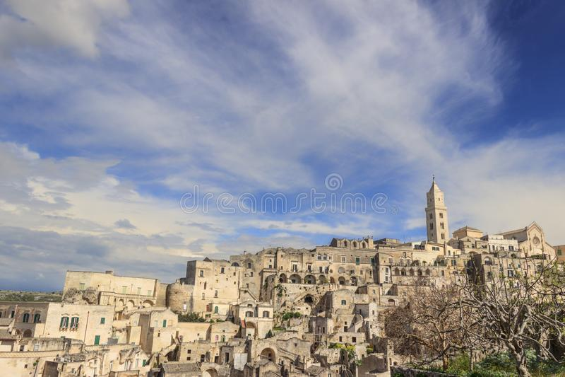 Punto di vista della città antica di Matera Sassi di Matera, capitale europea di cultura 2019, regione della Basilicata immagine stock libera da diritti